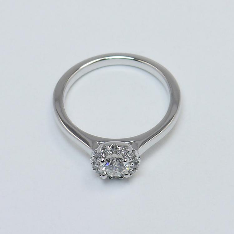 0.39 Carat Pave Halo Round Diamond Engagement Ring angle 4