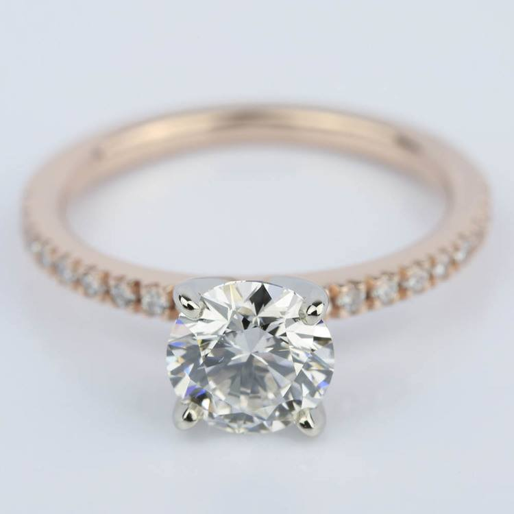 Pave Round Diamond Engagement Ring in Rose Gold (1.16 ct.)