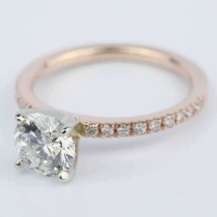 Pave Round Diamond Engagement Ring in Rose Gold (1.16 ct.) angle 2