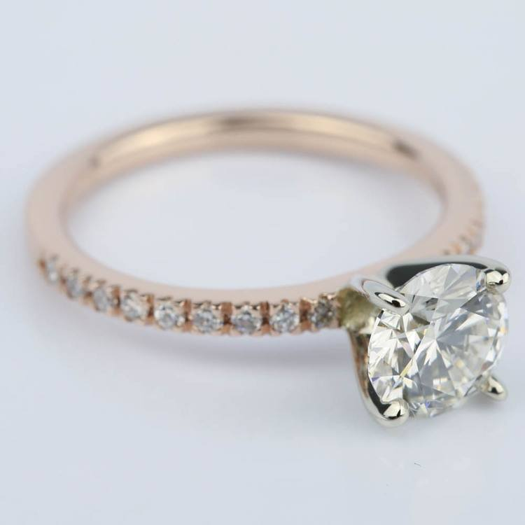 Pave Round Diamond Engagement Ring in Rose Gold (1.16 ct.) angle 3