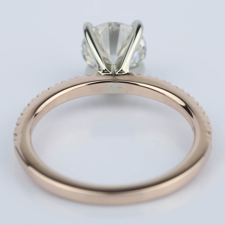 Pave Round Diamond Engagement Ring in Rose Gold (1.16 ct.) angle 4