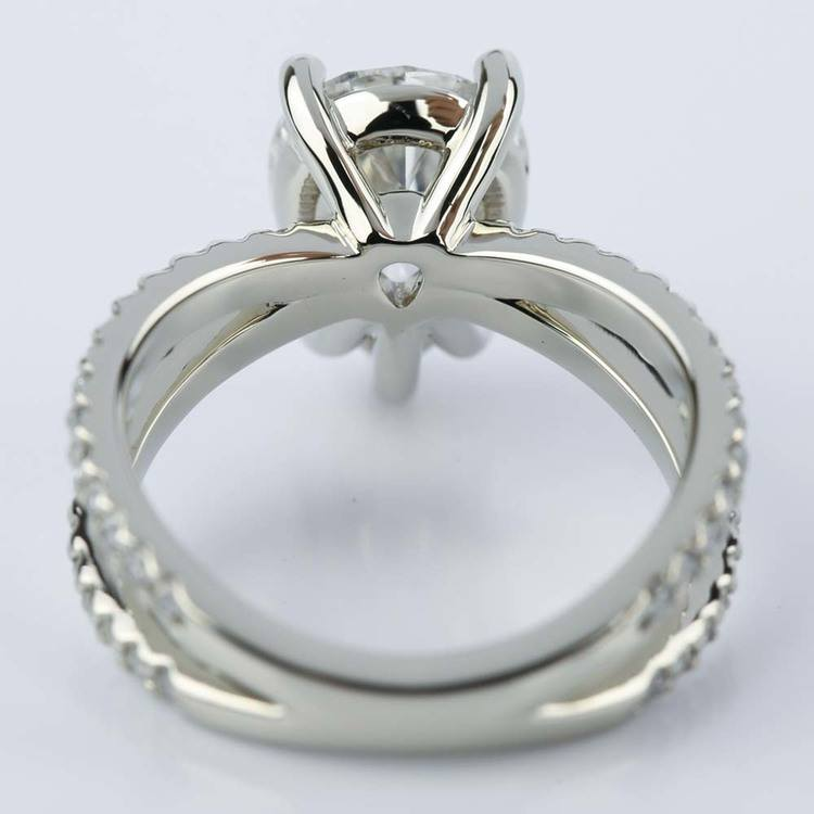 Pave Split Shank Pear Diamond Ring in White Gold (2.51 ct.) angle 4