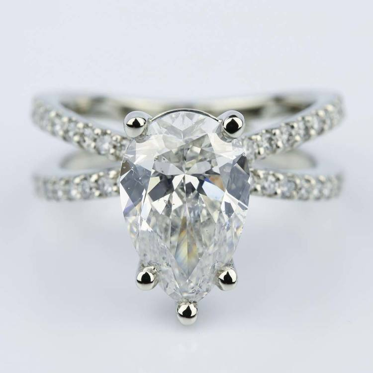 Pave Split Shank Pear Diamond Ring in White Gold (2.51 ct.)