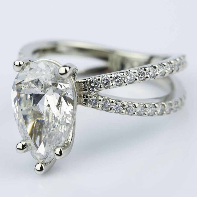 Pave Split Shank Pear Diamond Ring in White Gold (2.51 ct.) angle 2
