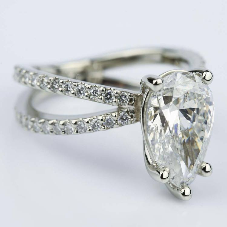Pave Split Shank Pear Diamond Ring in White Gold (2.51 ct.) angle 3