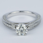 Pave Three-Sided Diamond Engagement Ring (1 Carat) - small