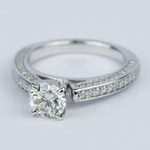 Pave Three-Sided Diamond Engagement Ring (1 Carat) - small angle 2