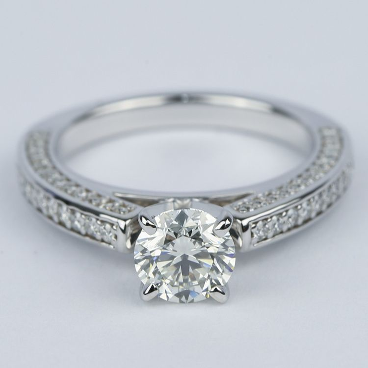 Pave Three-Sided Diamond Engagement Ring (1 Carat)