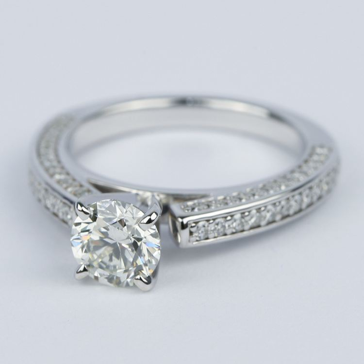 Pave Three-Sided Diamond Engagement Ring (1 Carat) angle 2