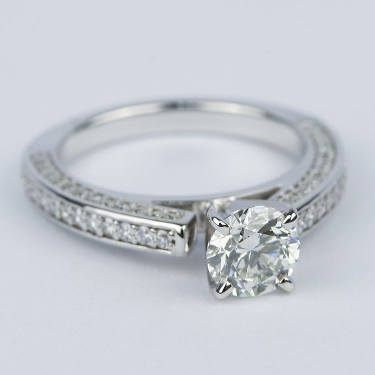 Pave Three-Sided Diamond Engagement Ring (1 Carat) angle 3