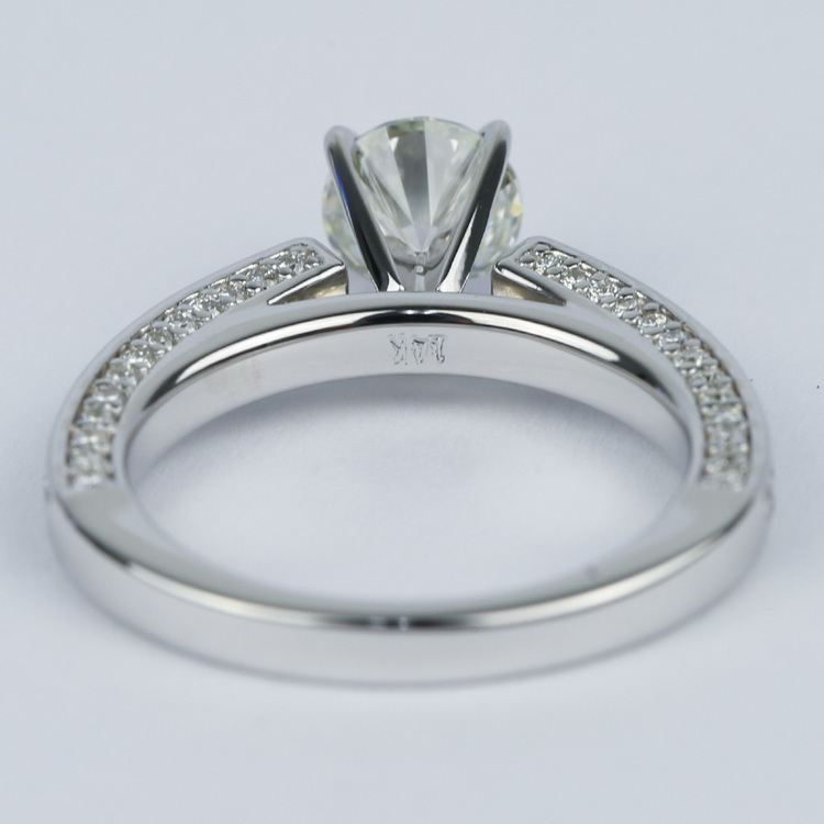 Pave Three-Sided Diamond Engagement Ring (1 Carat) angle 4