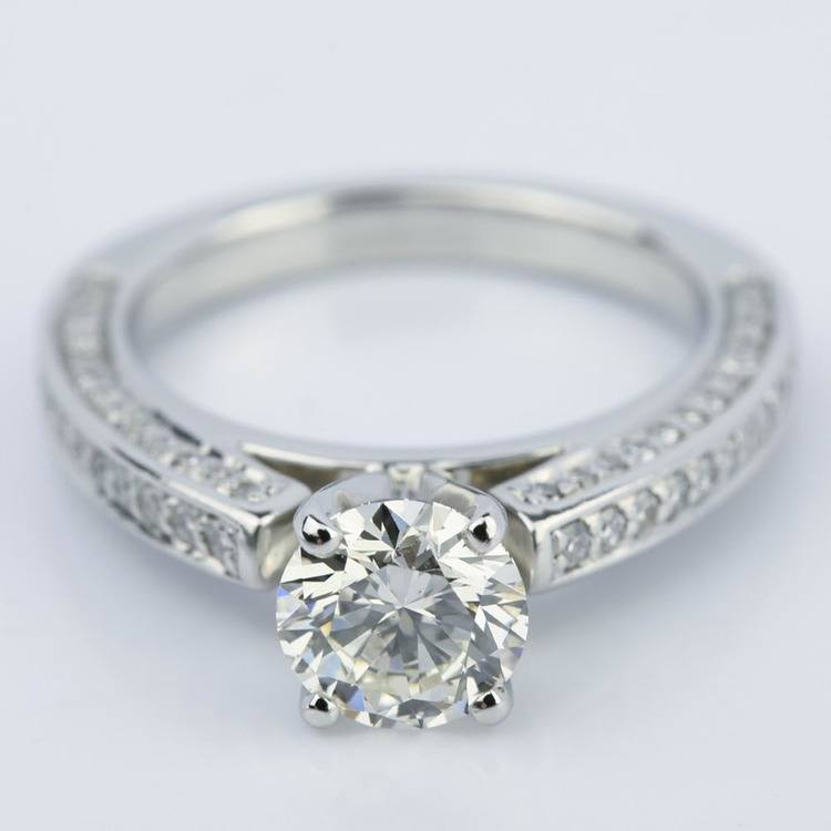 Pave Three-Sided Diamond Engagement Ring in Platinum (1.16 ct.)