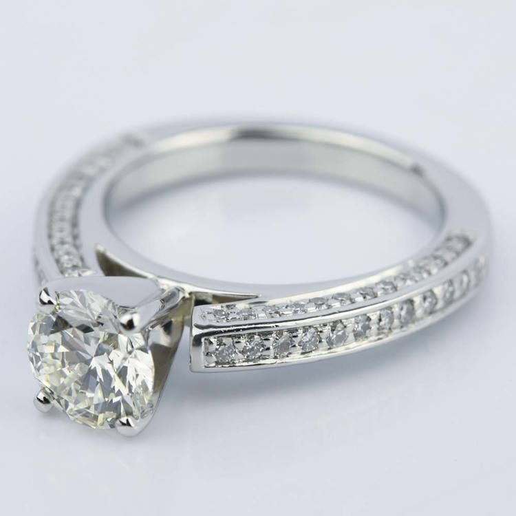 Pave Three-Sided Diamond Engagement Ring in Platinum (1.16 ct.) angle 2
