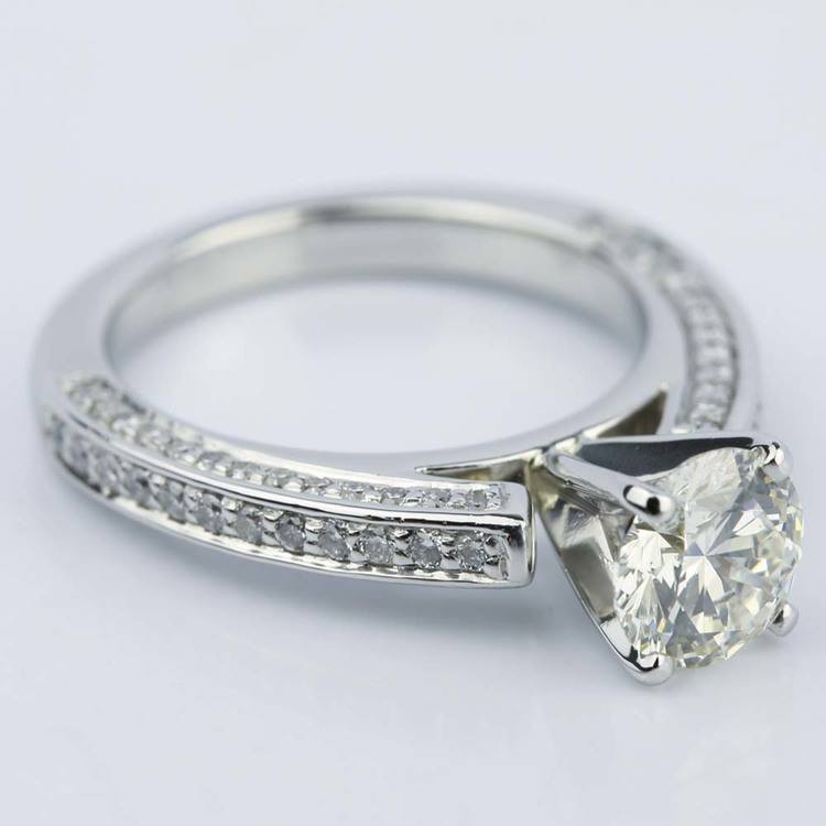 Pave Three-Sided Diamond Engagement Ring in Platinum (1.16 ct.) angle 3