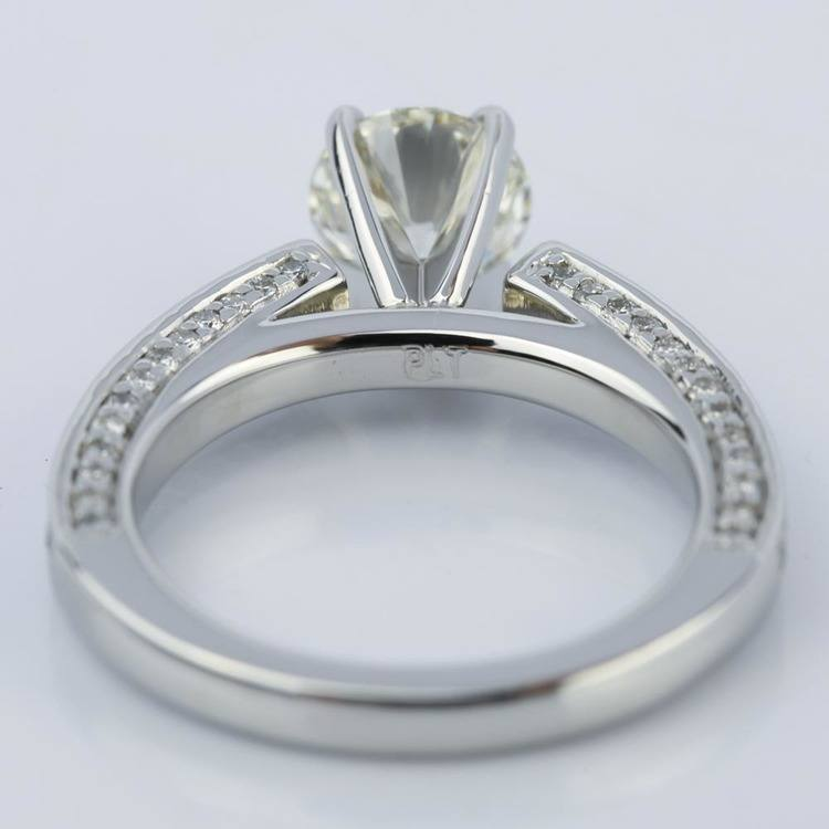 Pave Three-Sided Diamond Engagement Ring in Platinum (1.16 ct.) angle 4