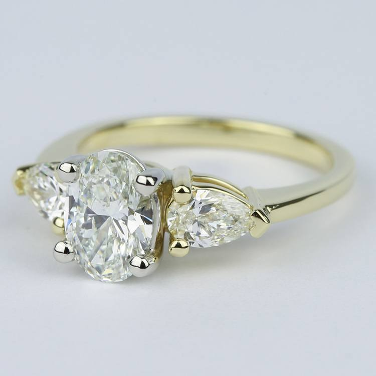 Oval Diamond Engagement Ring with Pear Side Diamonds angle 2