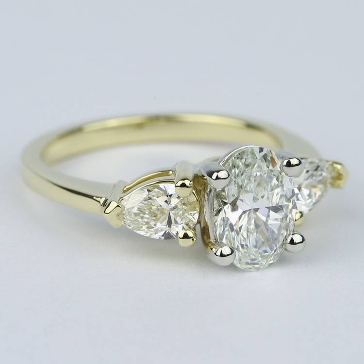 Oval Diamond Engagement Ring with Pear Side Diamonds angle 3