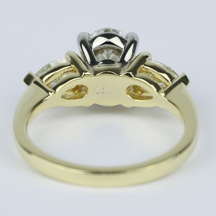 Oval Diamond Engagement Ring with Pear Side Diamonds angle 4