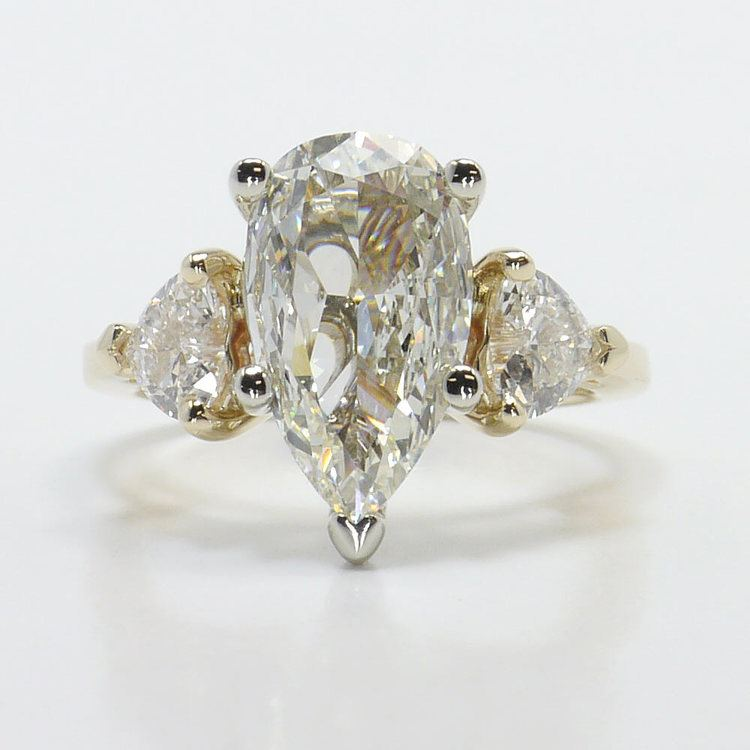 TwoTone Pear and Heart Diamond Engagement Ring