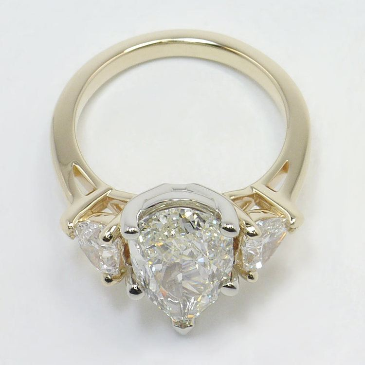 Two-Tone Pear and Heart Diamond Engagement Ring angle 4