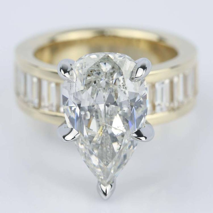 Pear Cut Diamond Baguette Engagement Ring (5 Carat)