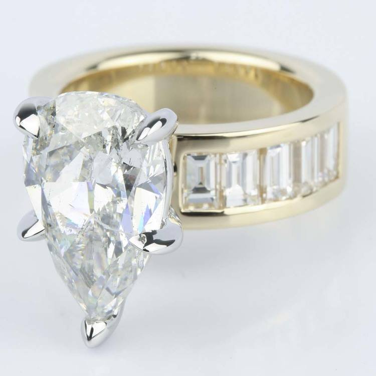 Pear Cut Diamond Baguette Engagement Ring (5 Carat) angle 2