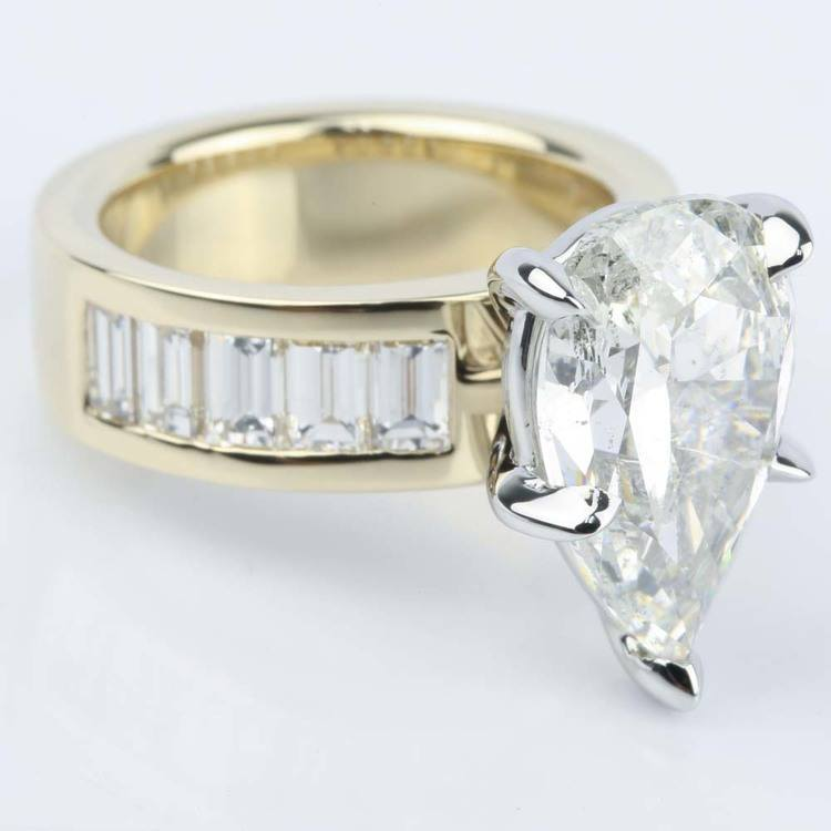 Pear Cut Diamond Baguette Engagement Ring (5 Carat) angle 3
