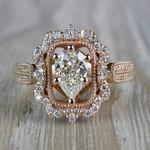 Pear Cut Diamond Custom Halo Antique Engagement Ring - small