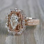Pear Cut Diamond Custom Halo Antique Engagement Ring - small angle 2