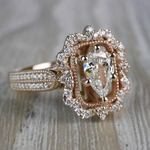 Pear Cut Diamond Custom Halo Antique Engagement Ring - small angle 3