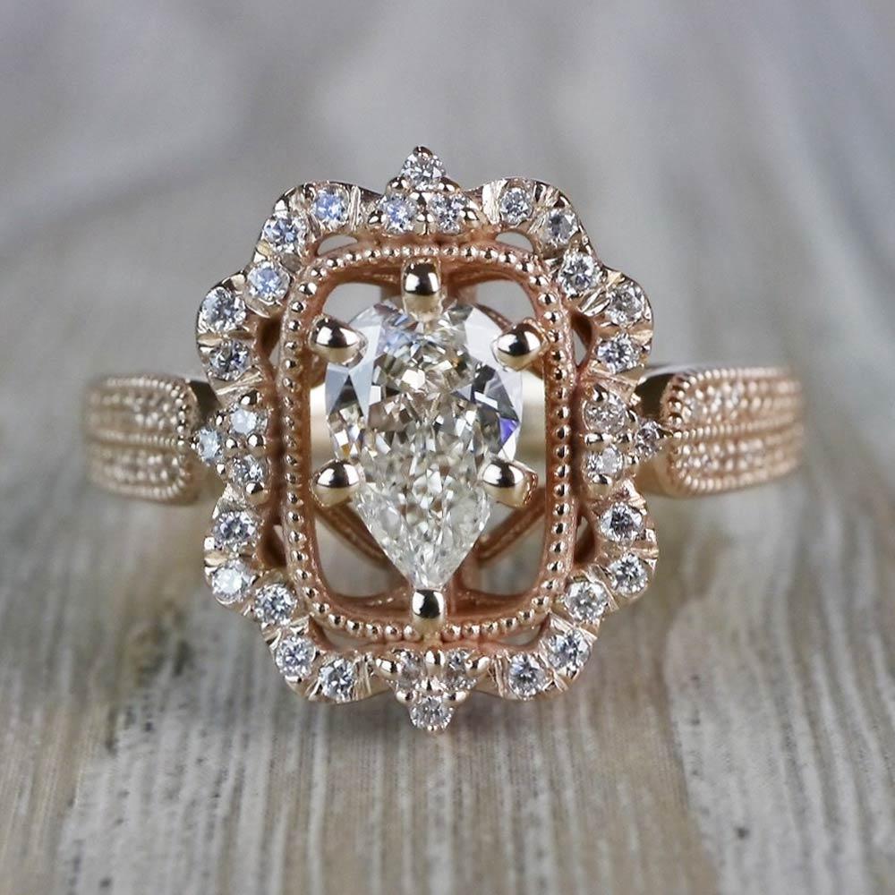 Pear Cut Diamond Custom Halo Antique Engagement Ring