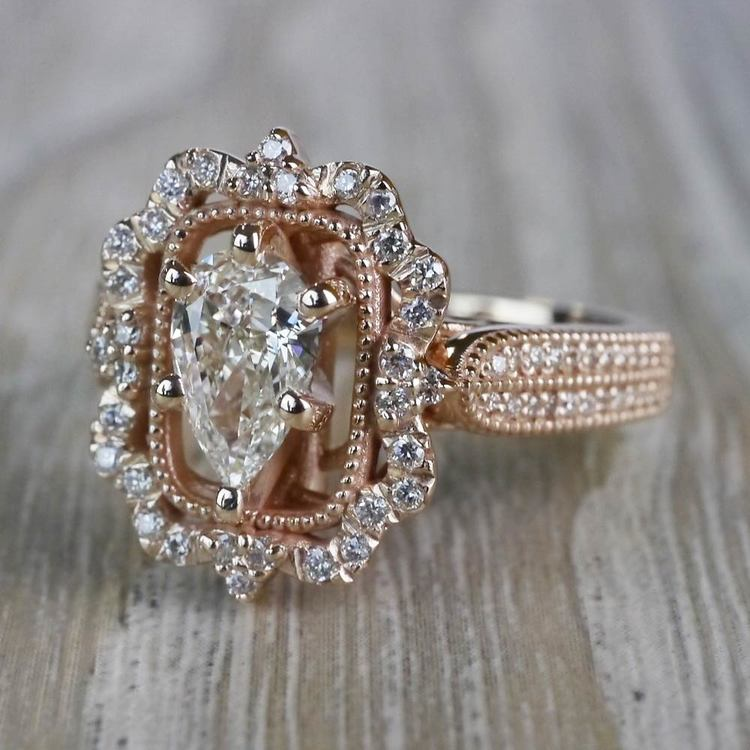 Pear Cut Diamond Custom Halo Antique Engagement Ring angle 2