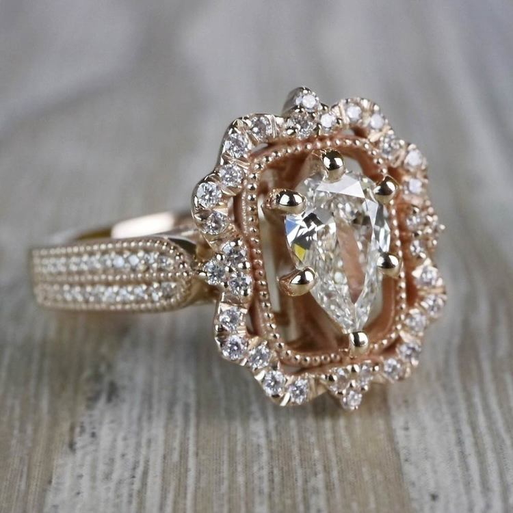 Pear Cut Diamond Custom Halo Antique Engagement Ring angle 3