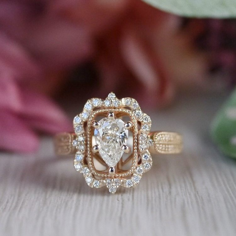 Pear Cut Diamond Custom Halo Antique Engagement Ring angle 5