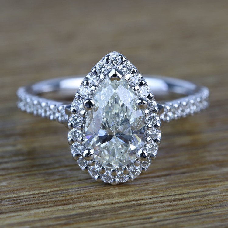 Pear Halo Diamond Engagement Ring (1.50 Carat)