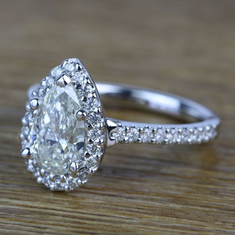Pear Halo Diamond Engagement Ring (1.50 Carat) angle 2