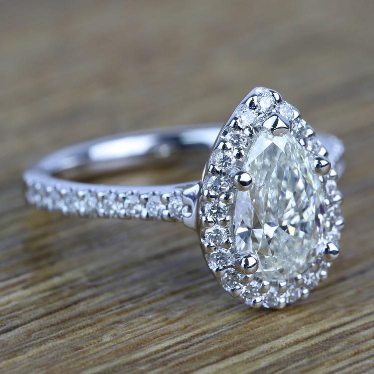 Pear Halo Diamond Engagement Ring (1.50 Carat) angle 3