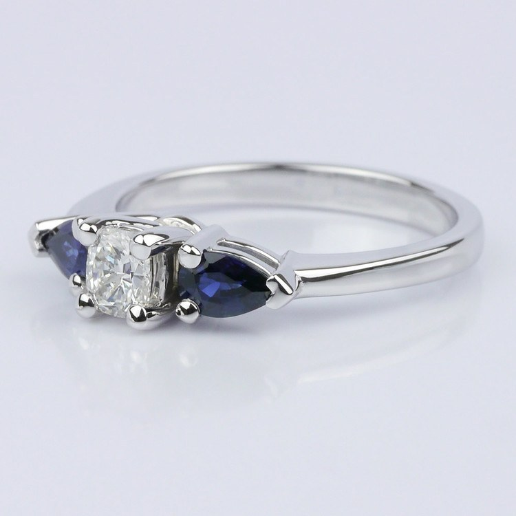 Pear Sapphire Gemstone Engagement Ring  angle 2