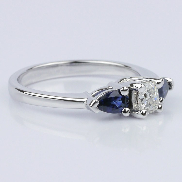 Pear Sapphire Gemstone Engagement Ring  angle 3