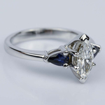 Pear Sapphire Gemstone Marquise Diamond Engagement Ring in White Gold (0.65 ct.) - small angle 3