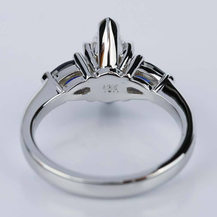 Pear Sapphire Gemstone Marquise Diamond Engagement Ring in White Gold (0.65 ct.) angle 4
