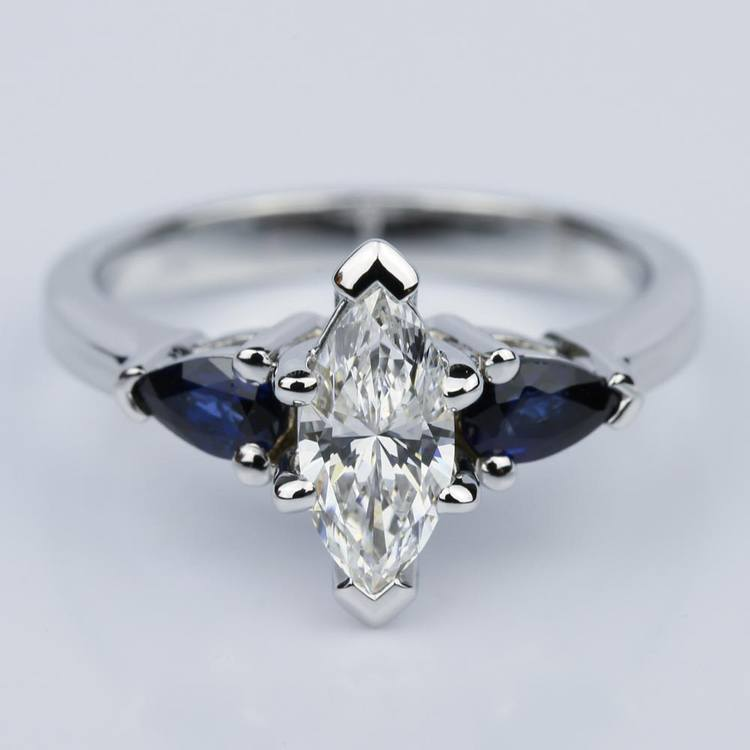 Pear Sapphire Gemstone Marquise Diamond Engagement Ring in White Gold (0.65 ct.)