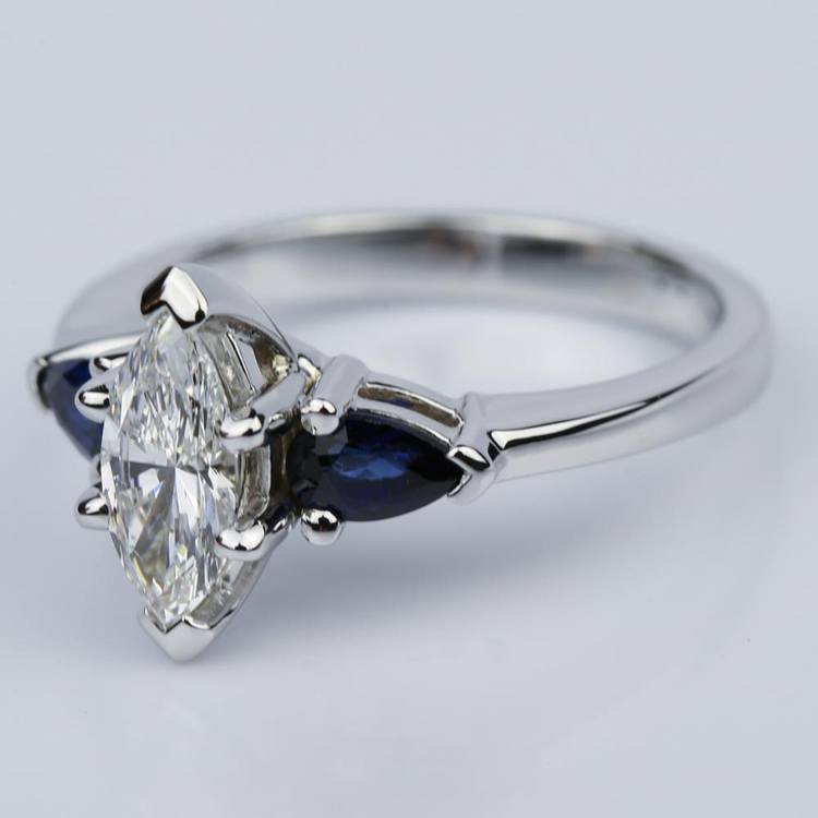 Pear Sapphire Gemstone Marquise Diamond Engagement Ring in White Gold (0.65 ct.) angle 2