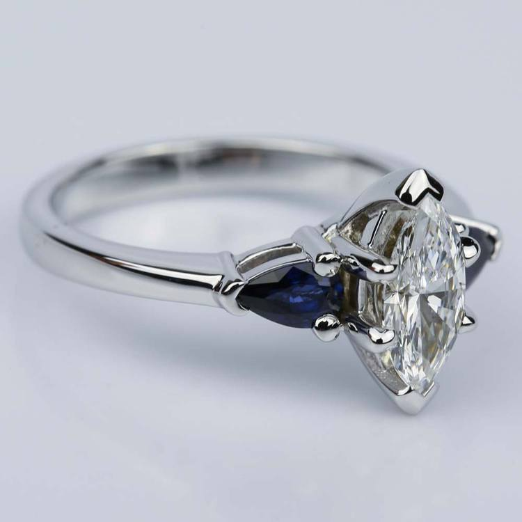 Pear Sapphire Gemstone Marquise Diamond Engagement Ring in White Gold (0.65 ct.) angle 3