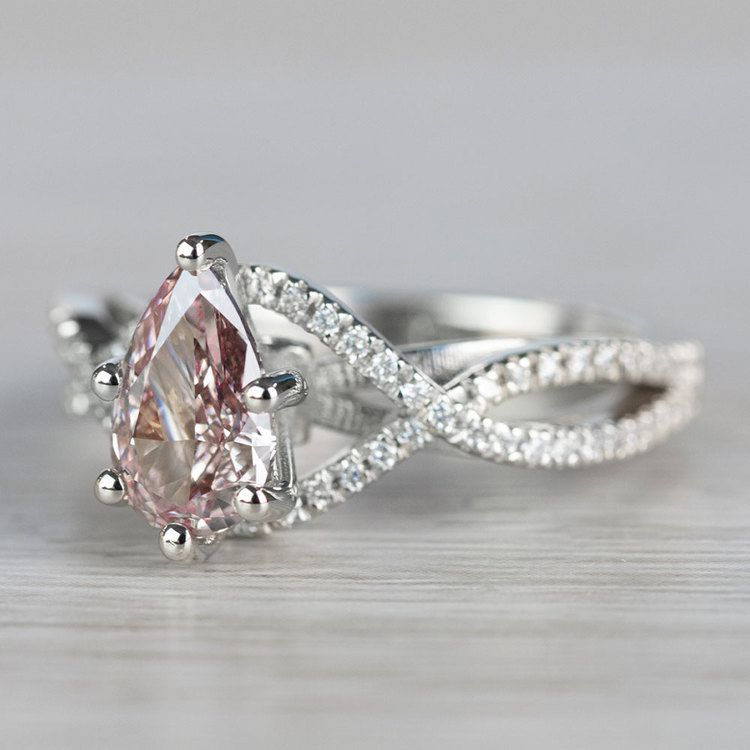 Pear Shaped Cross Split Shank Pink Diamond Ring angle 2