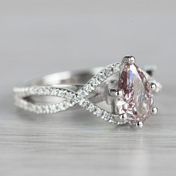 Pear Shaped Cross Split Shank Pink Diamond Ring angle 3