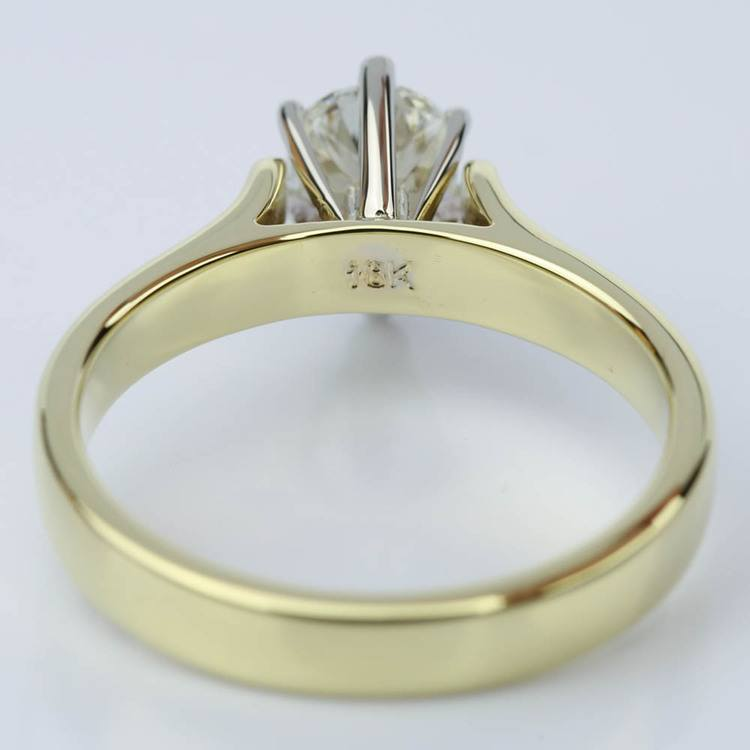 Pear Shaped Gold Contour Solitaire Engagement Ring (0.90 ct.) angle 4