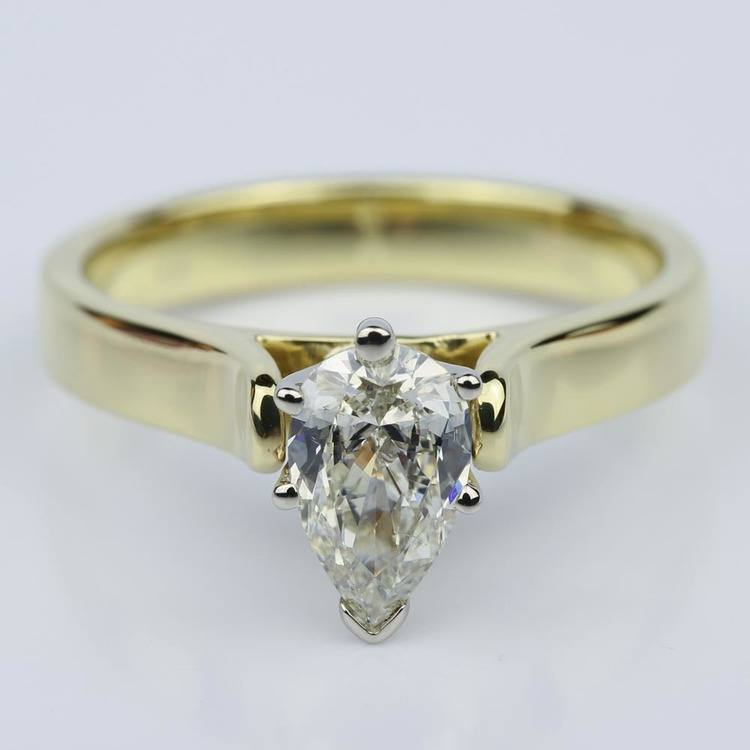Pear Shaped Gold Contour Solitaire Engagement Ring (0.90 ct.)