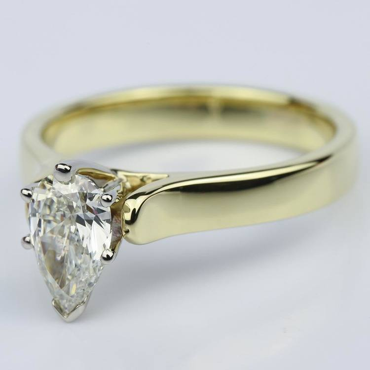 Pear Shaped Gold Contour Solitaire Engagement Ring (0.90 ct.) angle 2