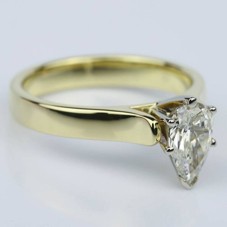 Pear Shaped Gold Contour Solitaire Engagement Ring (0.90 ct.) angle 3